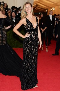 Gisele wore a Balenciaga gown.